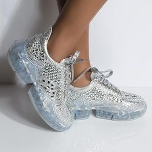 Silver stoned chunky sneaker